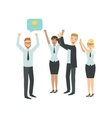 Manager Sharing Good News With Cheering Colleagues vector image