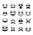 monster faces set halloween emoticons emojis vector image vector image