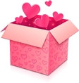 Ornate open box with rose paper hearts inside