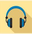 retro headphones icon flat style vector image vector image
