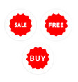 sale free buy set icon red circle frame background vector image vector image