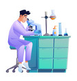 scientist with chemical tube flasks and microscope vector image vector image