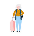 seniors happy traveling grandmother on trip vector image vector image