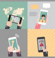 set of hand holding and gestures on smartphone vector image vector image