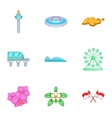Singapore icons set cartoon style vector image vector image