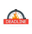 stopwatch with fire flame badge deadline concept vector image
