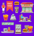 street fast food cafe labels set in flat style vector image