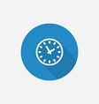 time Flat Blue Simple Icon with long shadow vector image vector image