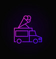truck with ice cream colored outline icon vector image