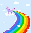 Unicorn pooping rainbows Fantastic animal in sky vector image