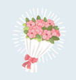 wedding bouquet pink roses icon cartoon style vector image