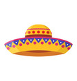 wide-brimmed colorful sombrero flat vector image vector image