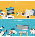 workspace and freelance banner flat design vector image