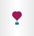hot air balloon heart icon symbol vector image
