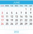 june calendar vector image