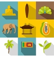 Attractions of Sri Lanka icons set flat style vector image vector image