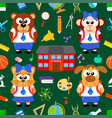 back to school seamless with funny animals vector image