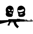 balaclavas and machine gun vector image vector image