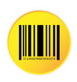 bar code icon yellow circle frame background vector image vector image