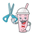 barber raspberry bubble tea character cartoon vector image vector image