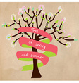 Blossoming tree card with frame for text vector image