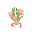 bouquet of pink tulip flowers hello spring floral vector image