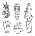 cacti set vector image