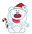 Christmas Polar Bear Holding Candy Cane vector image vector image