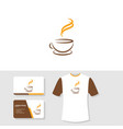 coffee logo business card and t shirt design vector image