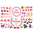 colorful autumn leaves and design elements vector image vector image
