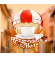 Cup of coffee an invitation to a cup of coffee vector image