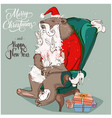 cute santa bear with hares on armchair vector image