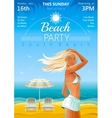 Day beach background with beautiful tan girl and vector image vector image