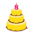 Eighth birthday cake vector image vector image