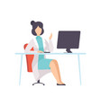 female doctor character working at desk with vector image vector image