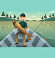 fisherman holding a fish vector image