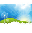 grassland atmosphere with dandelions vector image