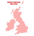 great britain and ireland map - mosaic of love vector image vector image