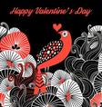 Greeting card with a bird in love on a dark backgr vector image vector image