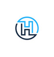 h letter circle line logo icon design vector image
