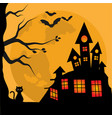 halloween banner cute black cat with a spooky vector image