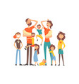 happy caucasian family with many children portrait vector image vector image