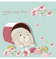 Happy Easter card with bunny rabbit vector image vector image