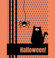 happy halloween greeting card with hanging on dash vector image vector image