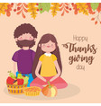 happy thanksgiving day couple with pie pumpkin vector image vector image