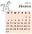 horse calendar 2014 march vector image vector image