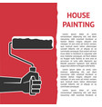 houses painting hand with paint roller vector image