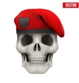 Human skull with Military maroon beret vector image vector image