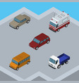 isometric automobile set of lorry car first-aid vector image vector image