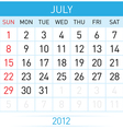 July calendar vector | Price: 1 Credit (USD $1)